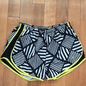Nike Black White Neon Running Shorts